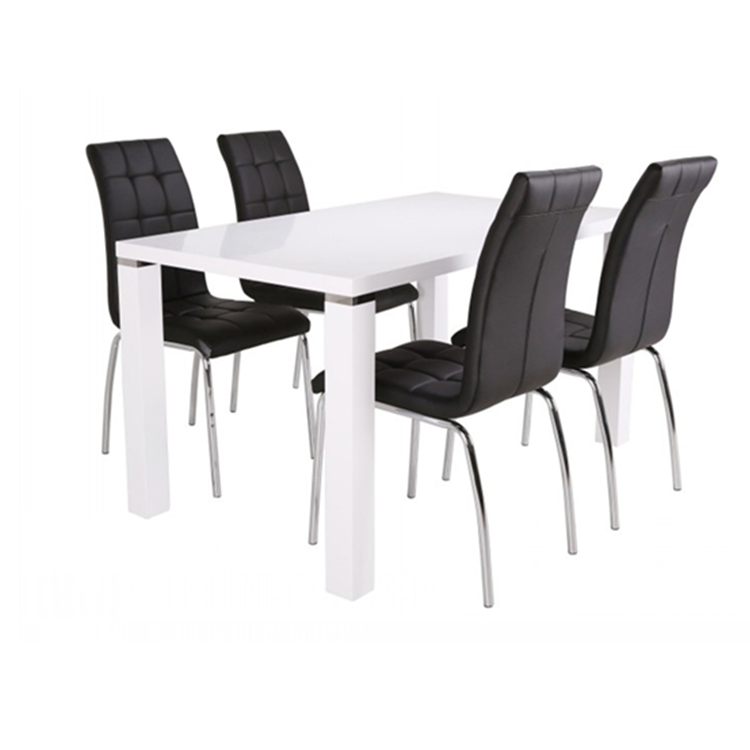 Europe Style 6 Seater White High Gloss MDF Dining Room Set White Dining Table Dining Chairs