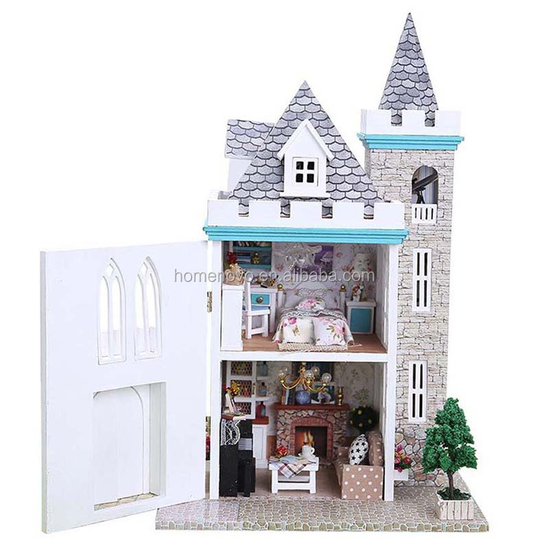 China Factory Realistic Lifelike Happy Villa Moonlight Castle DIY Wooden Toy Model Doll House