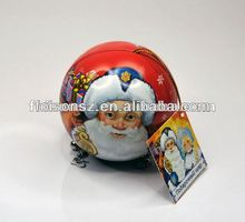 Christmas tin ball cans with swing tickets and ribbon