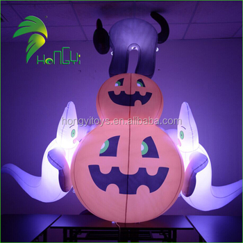 Hot Sale LED Light Inflatable Halloween White Ghost And Pumpkin For Yard Decoration