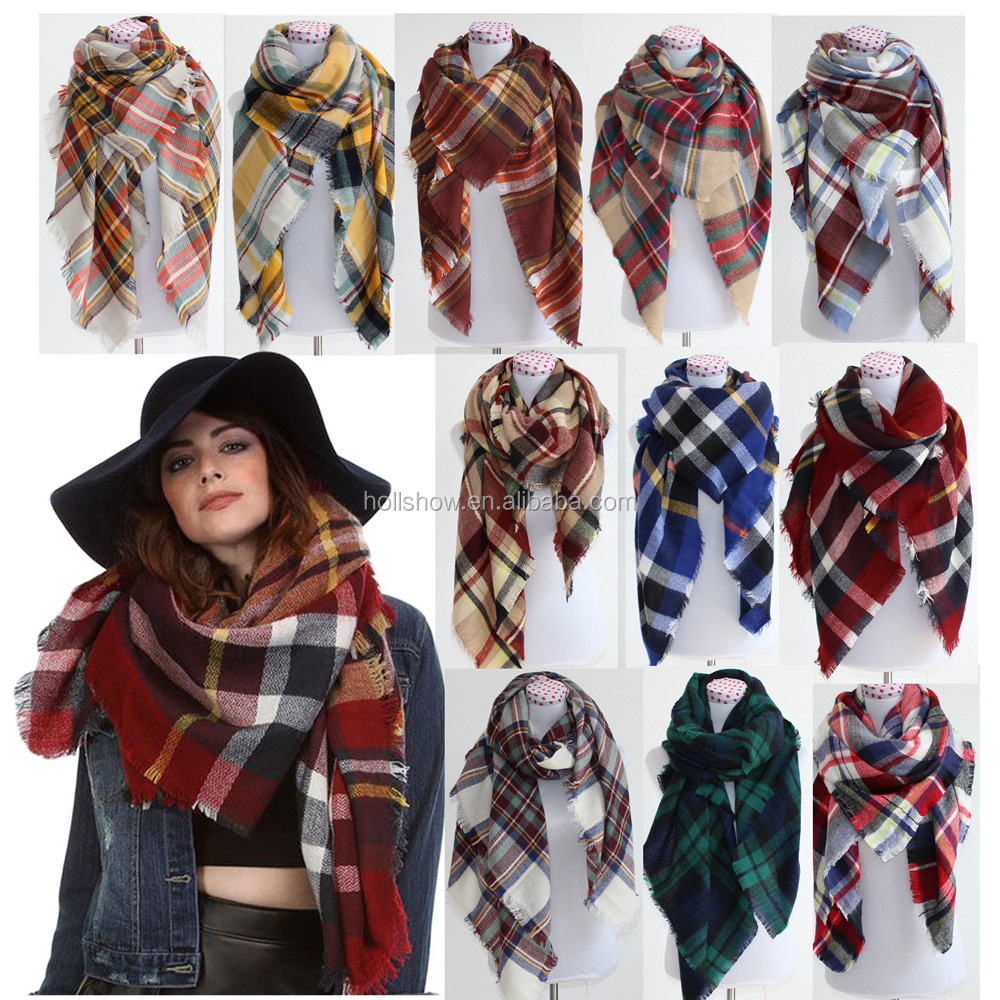 Wholesale Fashion Ladies Winter Plaid Tartan Square Scarf Shawl