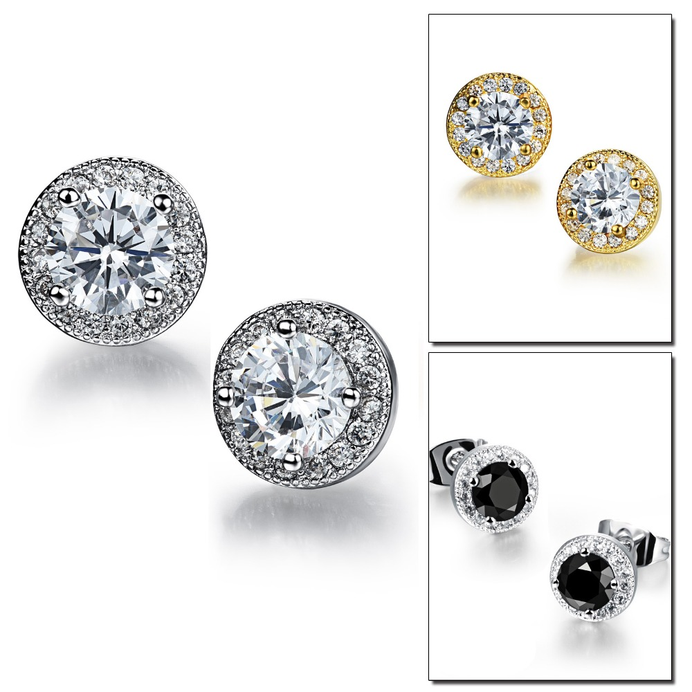 Micro Pave Zircon White Gold Plated <strong>Alloy</strong> Round Shaped Beautiful Stud Earring Design For Women
