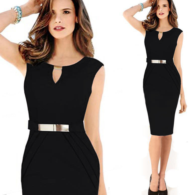 JS 20 Women Summer Geometric Stitching Color Short Sleeves Slim Pencil Formal Dress 701