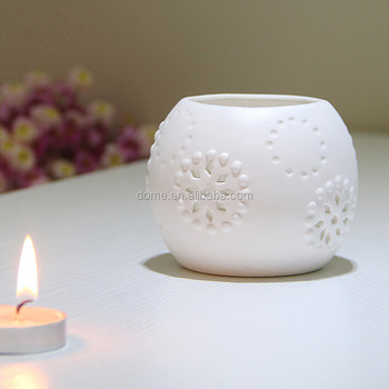 unglazed home decoration hollow out round porcelain candle holder