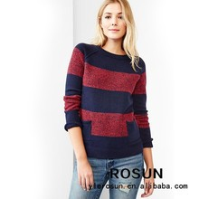 European street big striped pattern long sleeve sweater cheap winter clothes