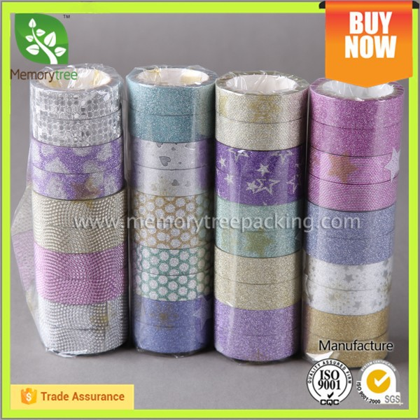 Shiny eco-friendly decorative glitter tape japanese washy paper tape