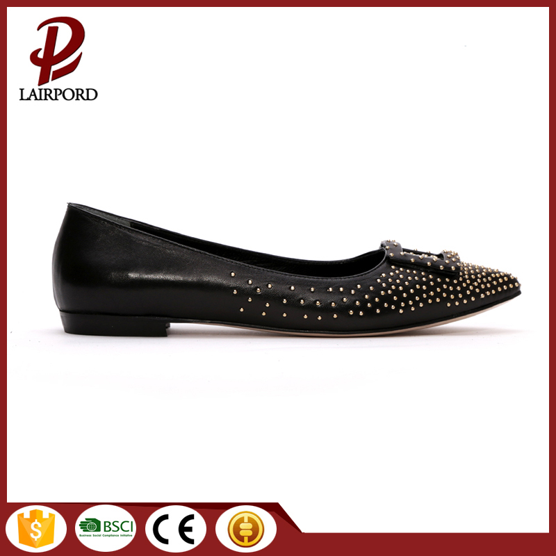 PRIVATE LABEL FACTORY SUPPLY latest rivet and pointed toe design sexy women flat shoes