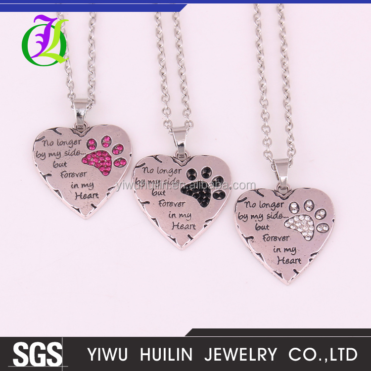 Antique silver plated No longer by my side but Forever in my Heart Pet Lover Crystal Paw Print Pendant engraved alloy necklace