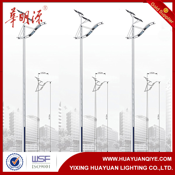 Hot dip galvanized steel pole with battery enclosure for energy saving solar street light pole