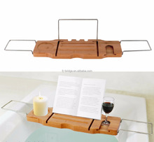 Simple design bamboo bathtub tray with stainless steel