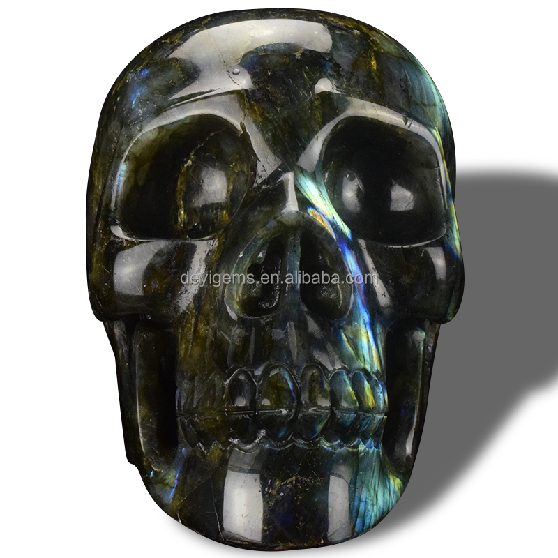 "7"" Large natural carved Labradorite Jasper skull gemstone craft gifts"