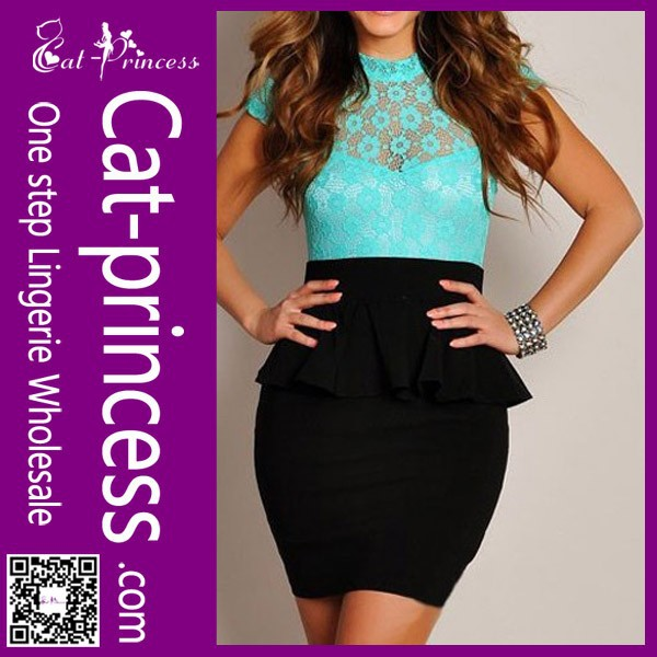 Latest elegant office lady peplum formal career dress