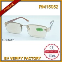 RM15052 2015 new style hot selling and easy to carry metal reading glasses of brown lenses