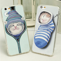 Zipper Cat Pattern Soft Flexible TPU Scratch-Proof Protective Case Cover Skin for iPhone 6 / 6s