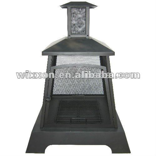 outdoor square fire pit with chimney