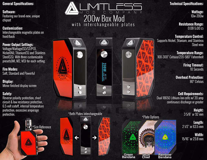Authentic ijoy limitless rdta and Limitless LMC 200w TC BOX MOD stock supply by Ave40