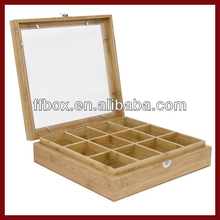 Glass Window Unfinished Light Wood Tea Bag Packaging Box
