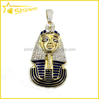 Hip Hop Iced Out Chunky King Tut Pharaoh Egyptian Necklace