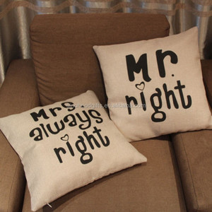 2015 China factory direct wholesale best selling square comfortable letter promotional pillows