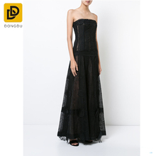 Sex Celebrity Summer Black Rayon Long Strapless Loose Pattern Tube Black Lace prom dress