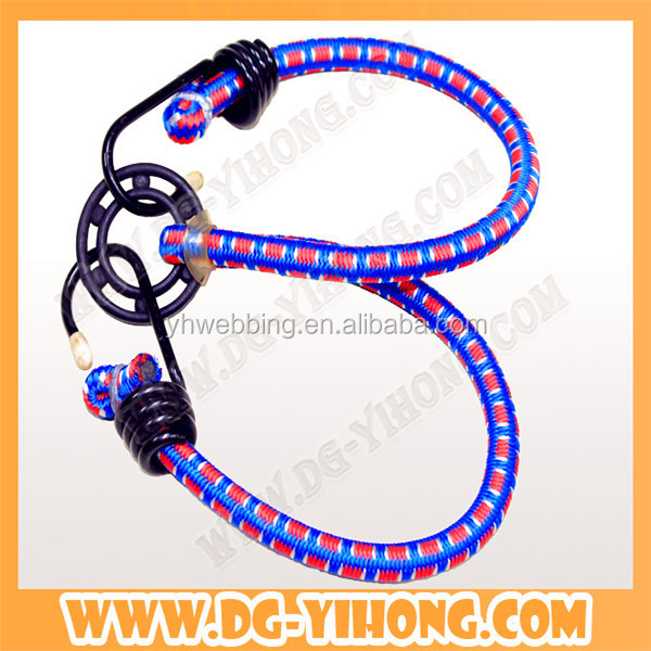 bulk wholesale luggage accesorries 6mm braided elastic packing nylon rope with black hook