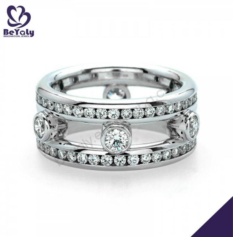 Hollow stretch design artificial 925 silver diamond ring