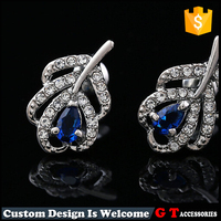 Stock feather design fashion earring with blue diamond, gem stock earring