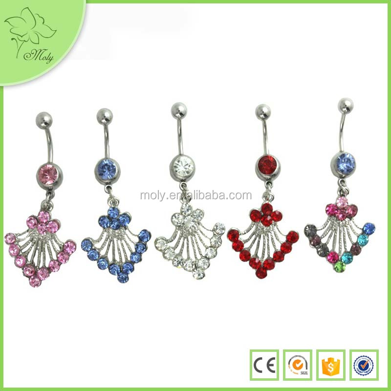 New style steel piercing jewelry Gem Silver Plated Angel Wing Dangle Belly Ring