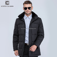 Latest Design Fashion Man Waterproof Winter Down Coats Top Selling Warm Jacket Coat Feather Removable Rabbit Collar