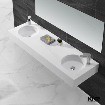 round double sink wall mount solid surface washbasin