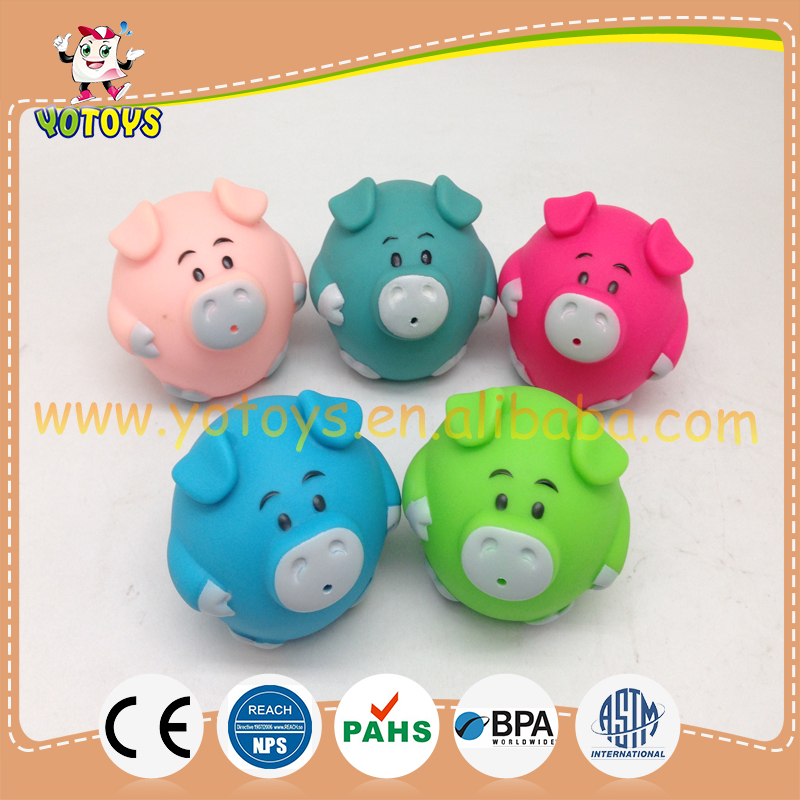 Small round cute rubber baby bath toy , round pig bath toy ,pig rubber toy for water squirt toys