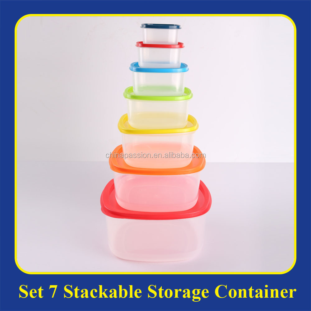 set of 7 stackable & microwavable plastic food storage container box