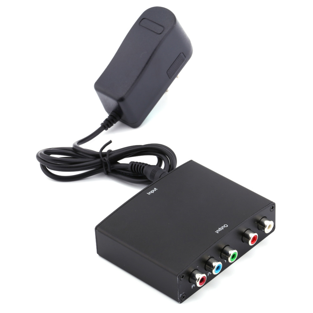 To YPBPR RGB Converter Component Video and <strong>R</strong>/L Audio Adapter Converter For HD TV <strong>1080P</strong> with EU Plug Charger Free Shipping