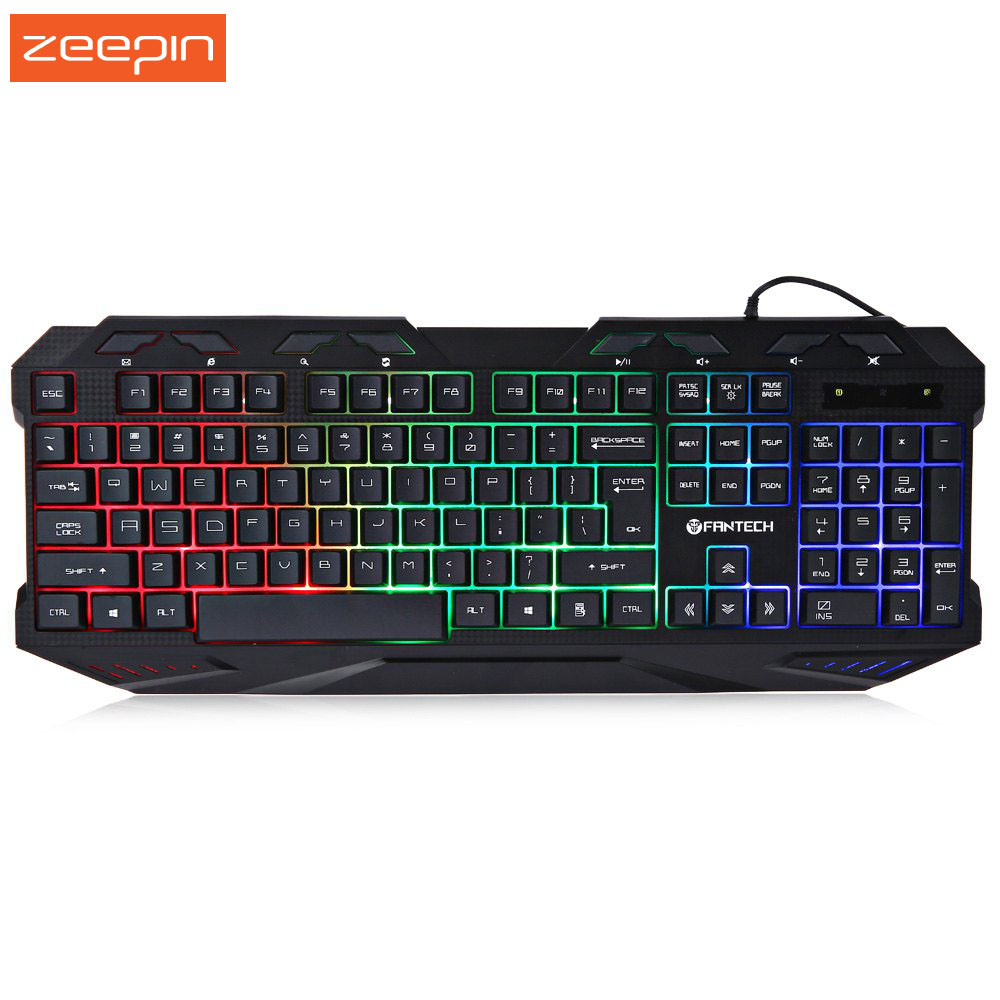 Zeepin <strong>K10</strong> USB Wired Colorful Water Resistant gaming Game Keyboard Backlight Support Laptop Desktop