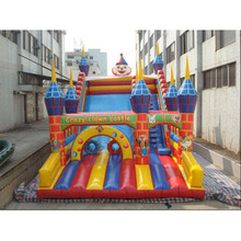 Crazy clown castle inflatable clown cartoon slide for spring festival