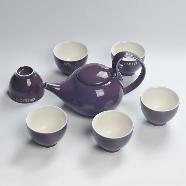 HIGH QUALITY PURPLE COLOR GLAZED CERAMIC COFFEE TEA SETS