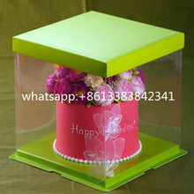 Custom Logo Eco- friendly Food Grade Two Tier transparent PET cake box