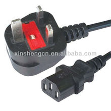 uk 3 pin power cord BS approval with BS 1363 plug