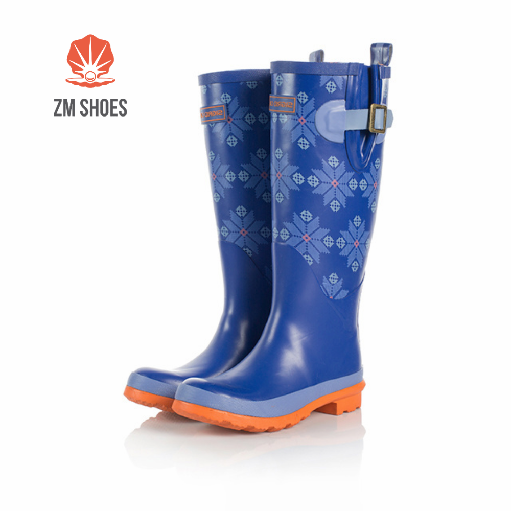 Custom made navy blue wellington rubber boots with steel toe