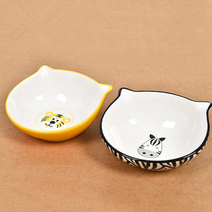 Personalized Round Ceramic Cat Shaped Pet Cat Dog Bowl Feeder