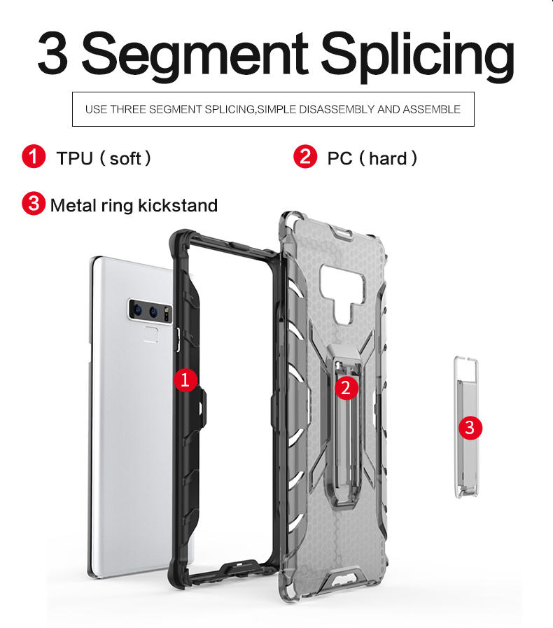 Wholesales Creative ultra thin transparent hybrid tpu pc kickstand clear cell phone case for Samsun note 9 case