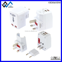 Factory Supply USB Universal Travel Plug Adapter with Euro Australia USA Female Socket And USB Port