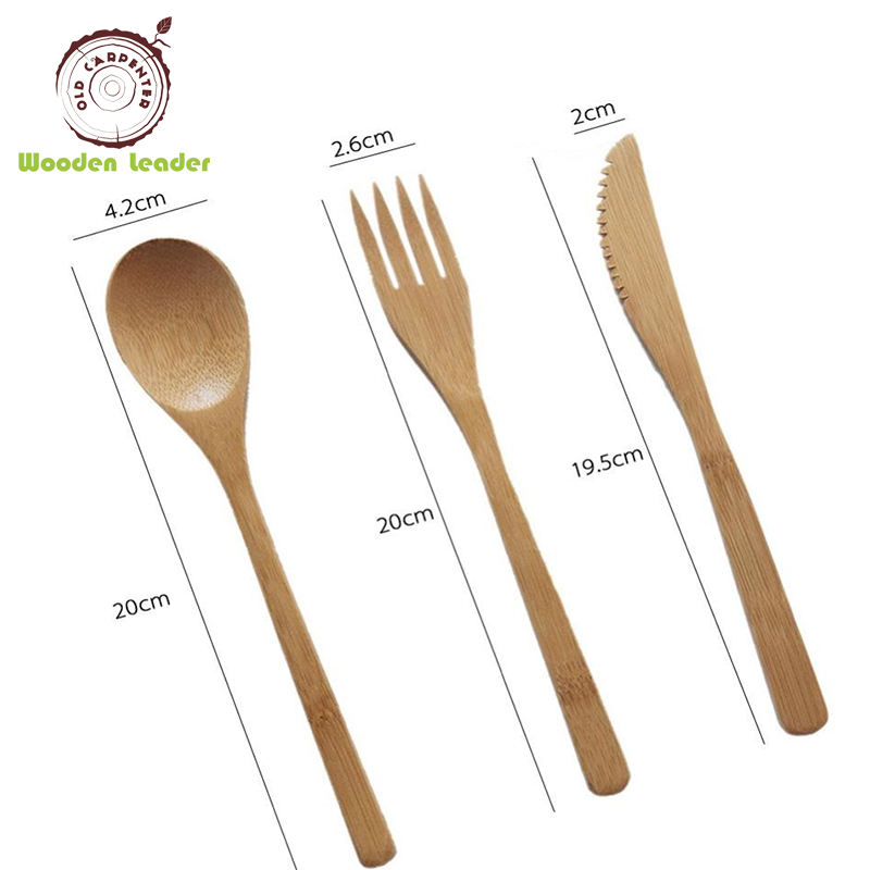 Fancy Reusable Utensils Portable Bamboo Picnic Travel Cutlery Set