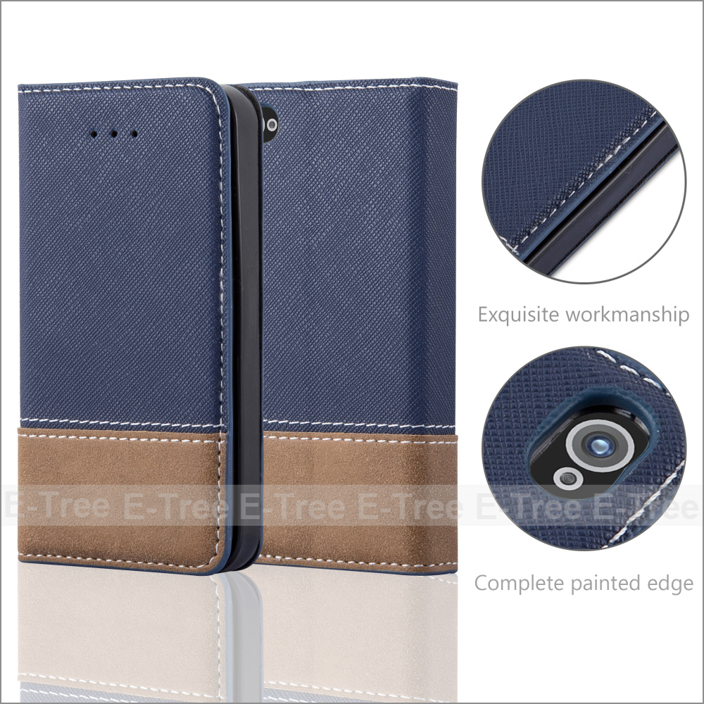 Invisible Magnet Jean Fabric Wallet Leather Phone Case Cover With Card Holders for Apple iPhone 4 4s