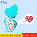 Heart-shaped Projector Keychain LED Light with Customer LOGO and Image