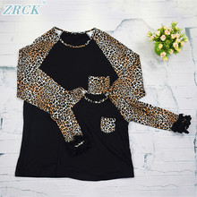Latest leopard black long sleeve mommy and me raglan shirts