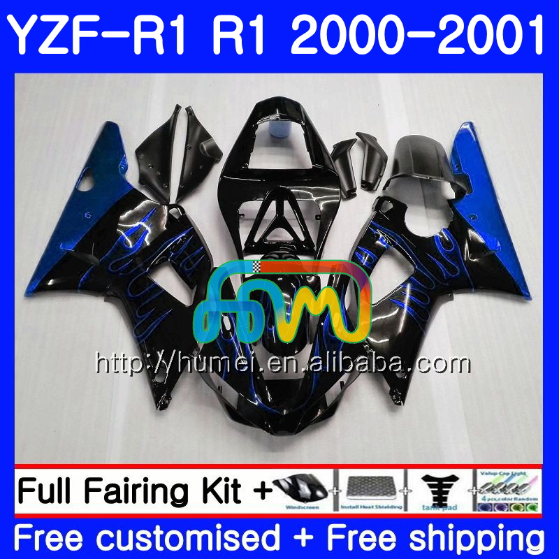 Bodywork For YAMAHA blue black YZF 1000 YZF-<strong>R1</strong> 2000 <strong>2001</strong> Body 98HM53 YZF1000 YZF R 1 YZFR1 00 01 YZF-1000 YZF <strong>R1</strong> 00 01 Fairing