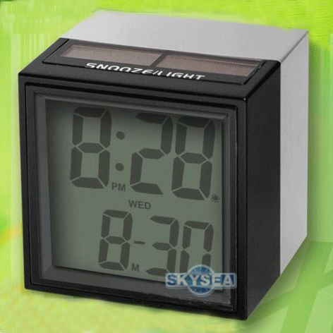 Solar Power LCD Digital Alarm Clock