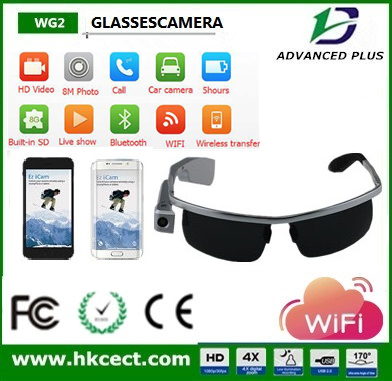 Top grade high grade TF memory sunglasses camera with 10 days stand by time