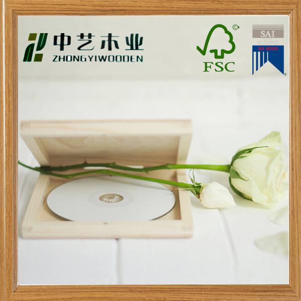 FSC eco-friendly solid pine unfinished square lid wedding DVD box wooden case wood box wooden CD case